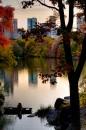 New York Amore sullo sfondo di un magico tramonto autunnale