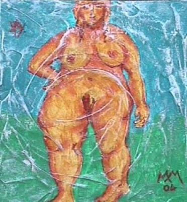femmina vagina acrilico su cartone marzia mazzavillani