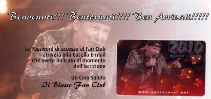 vasco rossi tessera fan club 2010 ufficiale