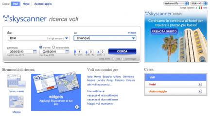 Skyscanner, homepage